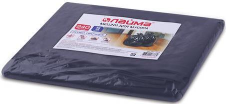 Мешки для мусора 240 л, черные, в пачке 5 шт., ПВД, 60 мкм, 90х140 см (±5%), особо прочные, ЛАЙМА, 601394