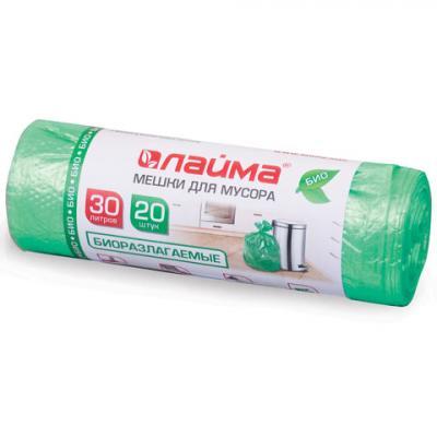 Фото - Мешки для мусора 30 л, БИОРАЗЛАГАЕМЫЕ, зеленые, в рулоне 20 шт., ПНД, 10 мкм, 50х60 см (±5%), прочные, ЛАЙМА, 601400 мешки для раздельного сбора мусора 60 л зеленые в рулоне 20 шт пнд 10 мкм 58х68 см laima 606704 3835