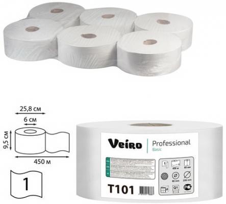 Картинка для Бумага туалетная 450 м, VEIRO Professional (Система T1), комплект 6 шт., Basic, T101