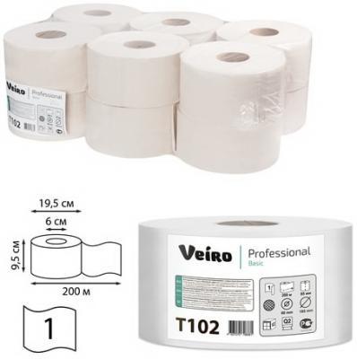 цена Бумага туалетная 200 м, VEIRO Professional (Система T2), комплект 12 шт., Basic, T102