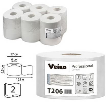 цена Бумага туалетная 125 м, VEIRO Professional (Система T2), комплект 12 шт., Comfort, 2-слойная, T206