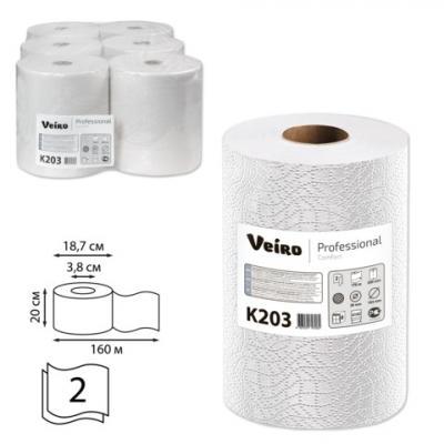 Полотенца бумажные рулонные VEIRO Professional (Система H1), комплект 6 шт., Comfort, 160 м, 2-слойные, белые, K203 полотенца бумажные рулонные tork система h13 комплект 6 шт 143 м 2 х слойные белые 471110