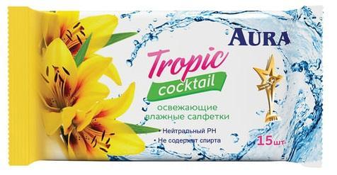 Салфетки влажные AURA Tropic cocktail нетканные не содержит спирта пропитка лосьёном 15 шт салфетки влажные kleenex бережная защита не содержит спирта влажная гипоаллергенные 10 шт 9440215