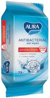 Салфетки влажные AURA Family влажная антибактериальные 72 шт салфетки влажные kleenex антибактриальные 40 шт влажная гипоаллергенные 9440102