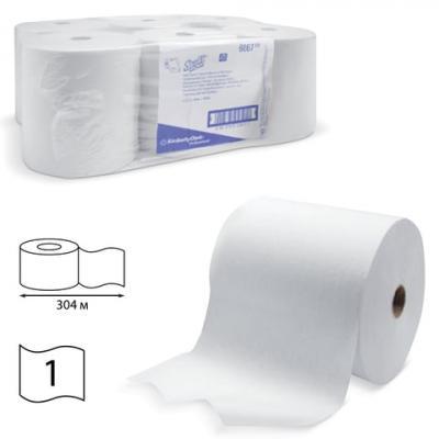 Полотенца бумажные рулонные KIMBERLY-CLARK Scott, комплект 6 шт., 304 м, белые, диспенсер 601536, АРТ. 6667 sits стул clark