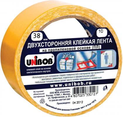 Клейкая лента Unibob 600017 38мм x 10 м двухсторонняя, основа - полипропилен цена и фото