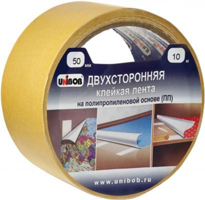 Клейкая лента Unibob 600180 50мм x 10 м двухсторонняя, основа - полипропилен клейкая лента brauberg 600480 50мм x 25 м двухсторонняя основа полипропилен