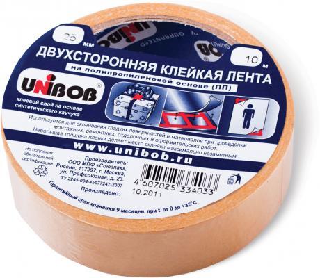 Клейкая лента Unibob 600852 25мм x 10 м двухсторонняя, основа-полипропилен клейкая лента unibob малярная 38mm x 50m 28138