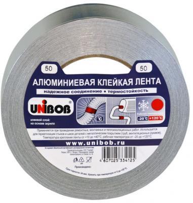 Клейкая лента Unibob 67668 50мм x 50 м алюминиевая, морозостойкая цена и фото