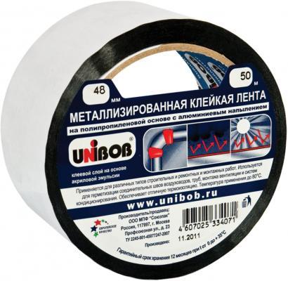 Клейкая лента Unibob 39117 48мм x 50 м металлизированная, основа-ПП с алюминиевым напылением клейкая лента unibob малярная 38mm x 50m 28138