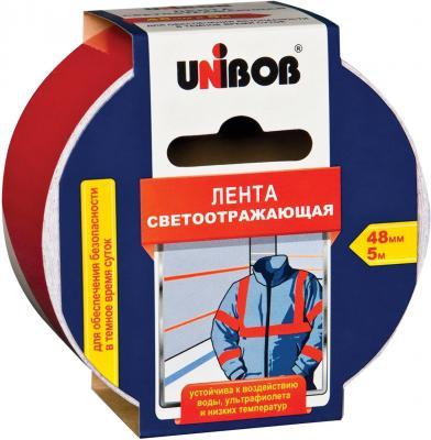 Клейкая лента Unibob 48984 48мм x 5 м светоотражающая, красно-белая клейкая лента упаковочная unibob 600 белая 48ммх66м 45мкм