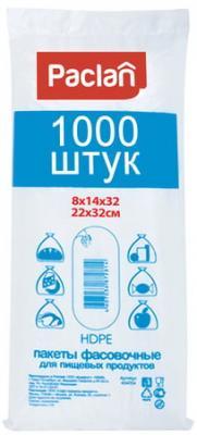 Пакеты фасовочные КОМПЛЕКТ 1000 шт., 14+8х32 (22х32), ПНД, 5,5 мкм, PACLAN, евроупаковка, 404003 пакеты фасовочные 14 50opp
