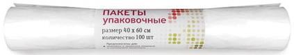 Пакеты упаковочные КОМПЛЕКТ 100 шт., 40x60 см, 30 л, ПНД, 12 мкм, рулон, 2869