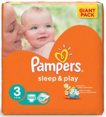 Подгузники КОМПЛЕКТ 100 шт. PAMPERS (Памперс) Sleep&Play, размер 3 (4-9 кг) цена