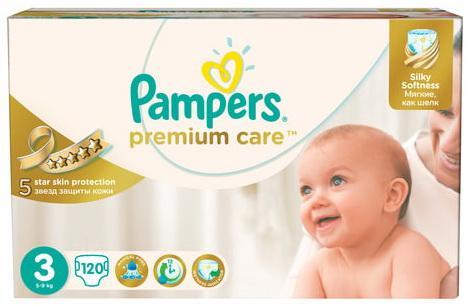 Купить Подгузники КОМПЛЕКТ 120 шт. PAMPERS (Памперс) Premium Care, размер 3 (5-9 кг), дышащие, Подгузники и трусики подгузники