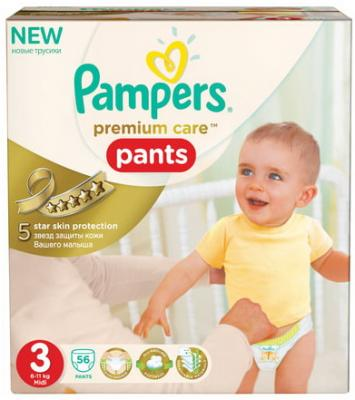 Подгузники-трусики КОМПЛЕКТ 56 шт., PAMPERS (Памперс) Premium Care Pants, размер 3 (6-11 кг) памперс трусики active boy 6 16 кг extra large 19шт
