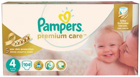 Подгузники КОМПЛЕКТ 104 шт., PAMPERS (Памперс) Premium Care, размер 4 (7-14 кг)