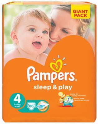Купить Подгузники КОМПЛЕКТ 86 шт., PAMPERS (Памперс) Sleep&Play, размер 4 (7-14 кг), н/д, Подгузники и трусики подгузники