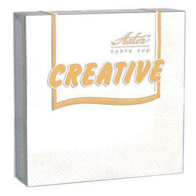 Салфетки бумажные, 20 шт., 24х24 см, 3-х слойные, ASTER Creative, белые, 100% целлюлоза, арт. 00998/15