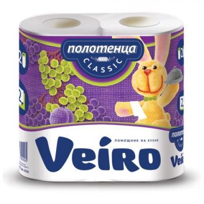 цены Полотенца бумажные бытовые, спайка 2 шт., 2-х слойные (2х12,5 м), VEIRO (Вейро), белые, 5п22