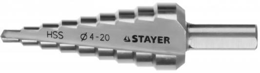 "Сверло STAYER ""MASTER"" ступенчатое по сталям и цвет.мет., сталь HSS, d=4-20мм, 9ступ.d 4-20, L-75 мм,трехгран. хвост. 8мм stayer 3 2 4 8мм 3115"