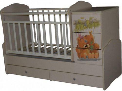Купить Кроватка-трансформер с маятником Кедр Martina 1 Teddy (фигурные спинки/слоновая кость), дерево, Кроватки-трансформеры