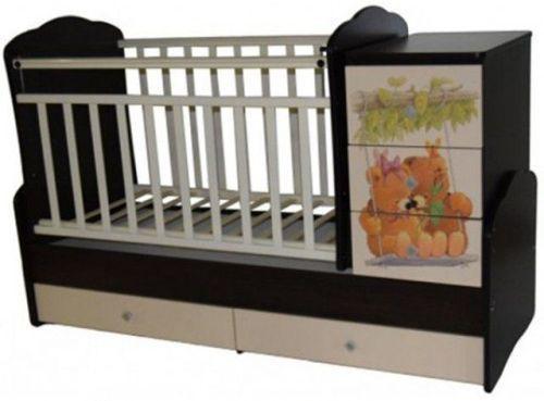 Кроватка-трансформер с маятником Кедр Martina 1 Teddy (фигурные спинки/венге-слоновая кость)