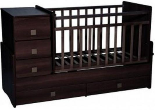 Купить Кроватка-трансформер с маятником Кедр Martina 2 (прямые спинки/венге, дерево, Кроватки-трансформеры