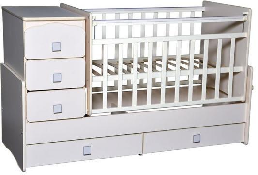 Купить Кроватка-трансформер с маятником Кедр Martina 2 (прямые спинки/белый), дерево, Кроватки-трансформеры