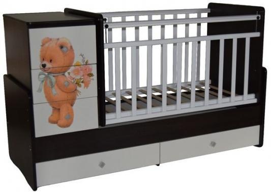 Купить Кроватка-трансформер с маятником Кедр Martina 2 Teddy (прямые спинки/венге-белый), венге-белая, дерево, Кроватки-трансформеры