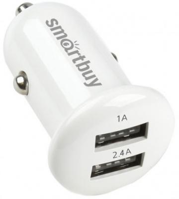 Автомобильное зарядное устройство Smart Buy Turbo 2 х USB 1/2.4 А белый SBP-2025 автомобильное зарядное устройство smart buy turbo pd usb usb c 3 2 4 a черный sbp 2033c