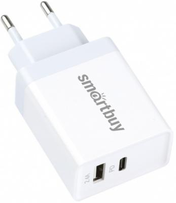 Сетевое зарядное устройство Smart Buy SBP-2023C 2.4А белый автомобильное зарядное устройство smart buy turbo 2 х usb 3 а белый sbp 2032