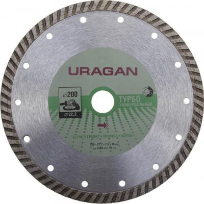 Фото - Круг отрезной алмазный URAGAN ТУРБО, для УШМ, 200х22,2мм круг алмазный uragan 909 12151 150