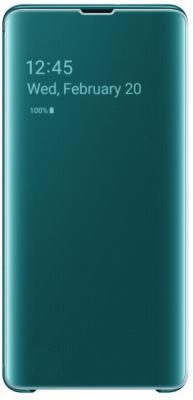 Чехол (флип-кейс) Samsung для Samsung Galaxy S10+ Clear View Cover зеленый (EF-ZG975CGEGRU) чехол флип кейс samsung s view standing cover для samsung galaxy a7 2017 золотистый [ef ca720pfegru]