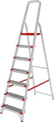 Лестница-стремянка 7 ступеней (широкие), высота 1,5 м, нагрузка 225 кг, алюминиевая, вес 6,8 кг, 5110107