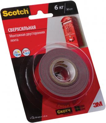 Клейкая лента 3M Scotch 19мм x 1.5 м двухсторонняя, монтажная, сверхпрочная, 4002-1915 лента монтажная 3m scotch двусторонняя влагостойкая на вспененной основе 19mm x 1 5m 4003 1915