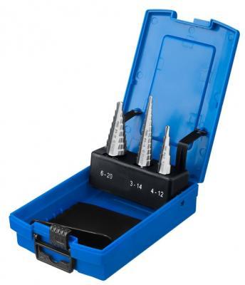Набор ЗУБР ступенчатых сверл по сталям и цвет. мет. ст. Р6М5, d=3-14мм, 12ступ. d=4-12мм 5 ступ., d=6-20мм 14ступ. набор сверл практика 031 297 металл 13шт 1 5 6 5мм в мет кассете сделай сам