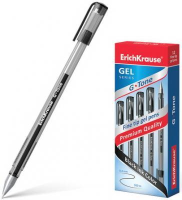 Ручка гелевая ERICH KRAUSE G-Tone, корпус тонированный черный, узел 0,5 мм, линия 0,4 мм, черная, 17810 erich krause ручка гелевая g tone 12 шт erich krause