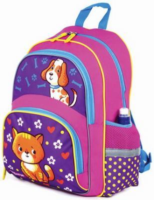 Купить Рюкзак ПИФАГОР+ для начальной школы, девочка, Пес и кот, 40х30х15 см, 227941, розовый, полиэстер, ткань, Ранцы, рюкзаки и сумки
