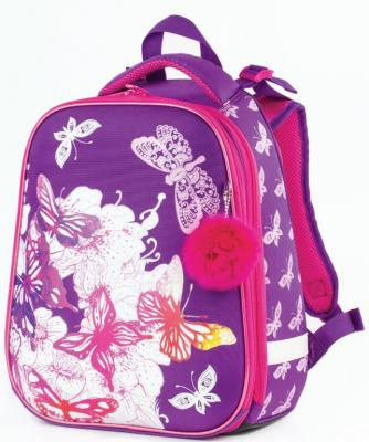 Ранец ортопедический BRAUBERG Бабочки 17 л фиолетовый розовый школьные рюкзаки brauberg ранец динозавр 17 л