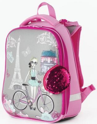 Ранец светоотражающие материалы BRAUBERG Париж 17 л рисунок розовый школьные рюкзаки brauberg ранец динозавр 17 л
