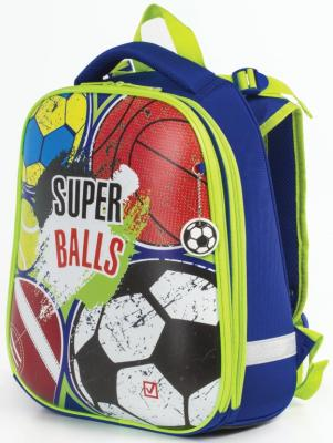 Ранец светоотражающие материалы BRAUBERG Супер-мячи 17 л синий зеленый цена и фото