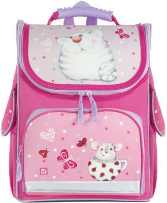 Ранец дышащая спинка BRAUBERG Кошка и мышка 22 л розовый, н/д, Школьные ранцы  - купить со скидкой