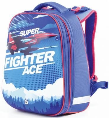 Ранец светоотражающие материалы BRAUBERG Истребитель 17 л синий школьные рюкзаки brauberg ранец динозавр 17 л