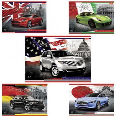 """Картинка для Альбом для рисования, А4, 40 л., выборочный лак, HATBER """"Country cars"""" (""""Авто""""), 40А4вмB, A090701"""