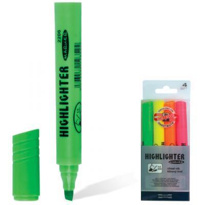 Набор текстмаркеров Koh-i-Noor 1-5 мм 4 шт желтый оранжевый зеленый розовый