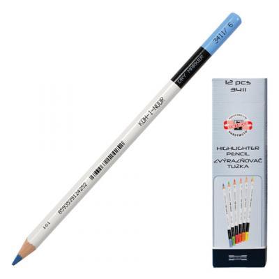 Текстмаркер-карандаш сухой Koh-i-Noor 3-3,8 мм голубой цена и фото