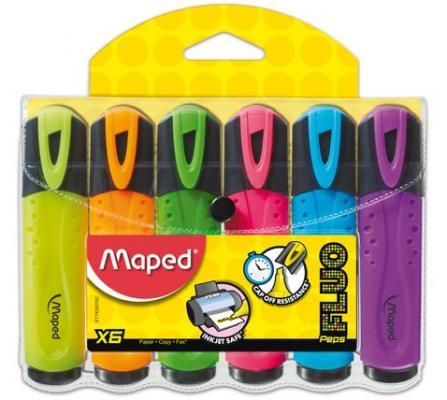 Набор текстмаркеров Maped Fluo Pep's Classic 1-5 мм 6 шт желтый оранжевый розовый зеленый голубой фиолетовый
