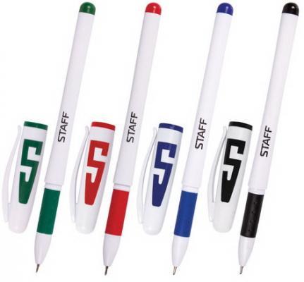 Ручки гелевые STAFF, набор 4 шт., корпус белый, узел 0,5 мм, резиновый упор (синяя, черная, красная, зеленая), 142395