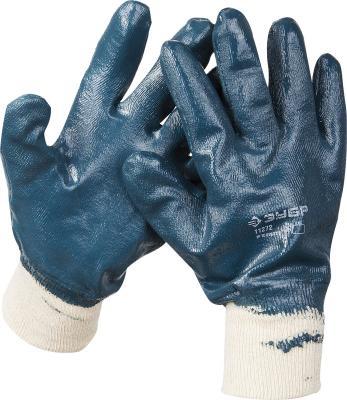 Перчатки ЗУБР рабочие с манжетой, с полным нитриловым покрытием, размер XL (10) перчатки защитные boxer с облегченным нитриловым покрытием bxr2301sticker